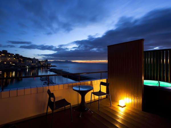 ≪温泉露天風呂付オーシャンスパテラスルーム≫島花最上階からの眺望をお楽しみ下さいませ