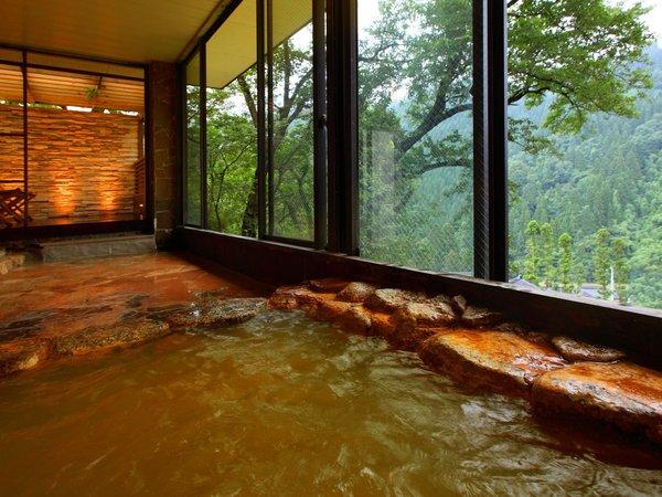 2種類の源泉が愉しめる大浴場♪【赤茶色の炭酸鉄泉】 鉄分が豊富で冷え性や貧血に効くと云われています