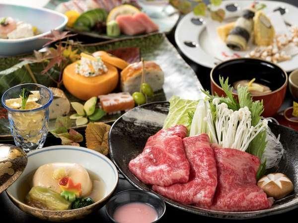 とろける美味しさのブランド牛佐賀牛をしゃぶしゃぶでご堪能ください(写真は9/2~12/1のお料理)