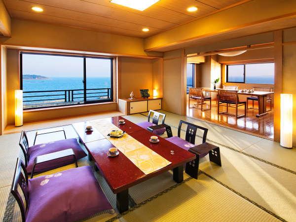◆スイート特別室◆大人数もOK☆(一例)。和室2間1面のみオーシャンビューになる場合もございます。