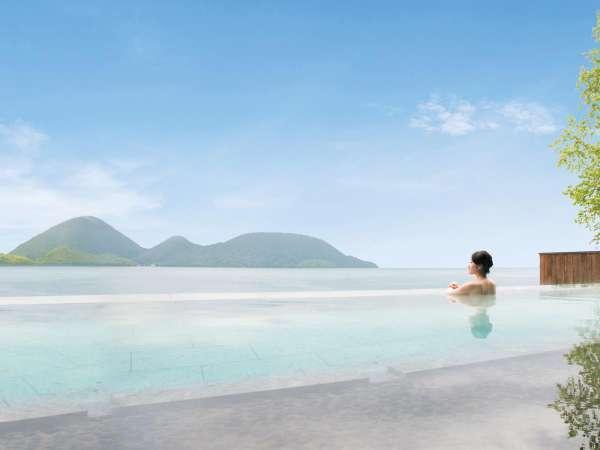・[露天風呂] 湯と湖がつながる絶景