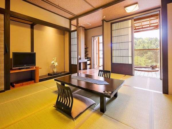 【露天風呂付き客室(山ゆり)】『すみれ』『あざみ』もお部屋は同じタイプです。