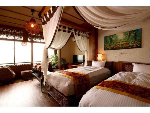 サヌール シングルベッド2台の部屋 大人2名様までご利用可能です。