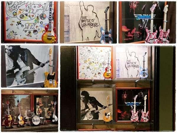 館内飾り LPレコード&ギター