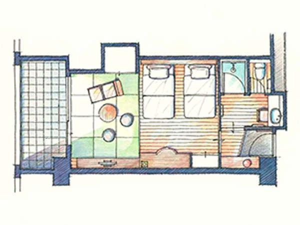 ■『ガーデンステイ』/定員4名/ベッド2台(幅120cm・長さ210cm・高さ50cm)+布団2組