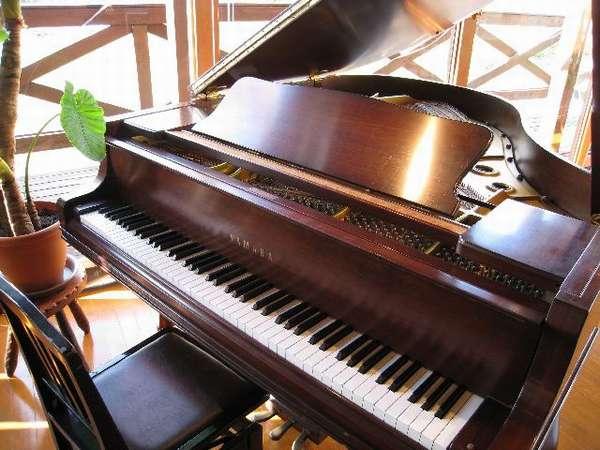 レストランホールの鎮座するヤマハC3ウォールナットグランドピアノ レンタルホールのシステムあり