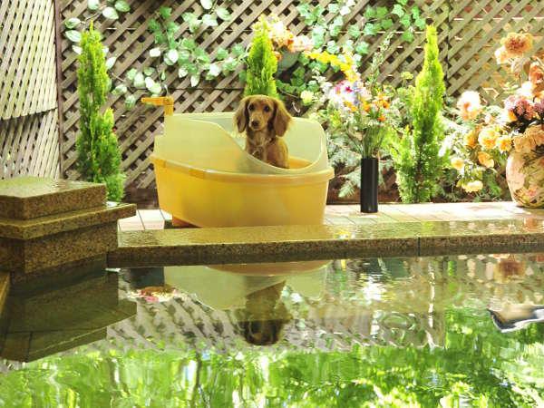御影石の温泉露天風呂。ペット用バスタブ付。