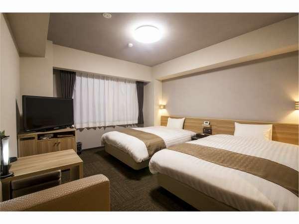ツインルーム☆ 広々20㎡のお部屋に140cm幅のゆったりダブルベッド仕様♪