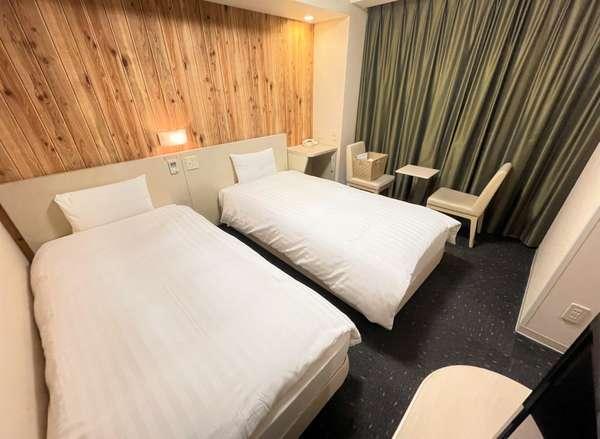 ◆【客室】『ツインルーム』 広さ18平米 ベッドサイズ横100cm×縦205cm(2台)