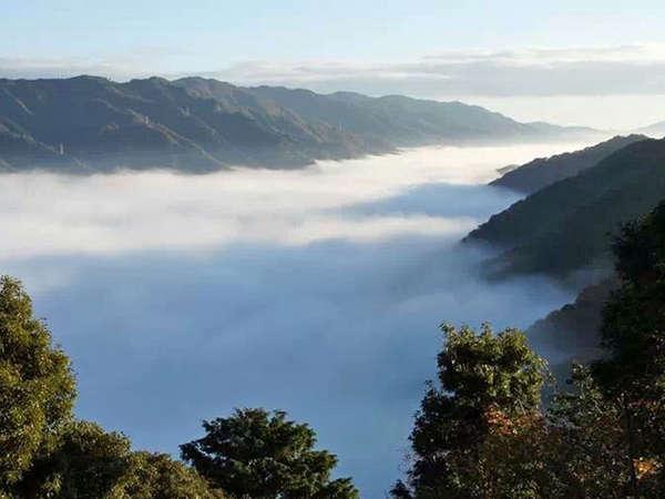 ■早朝の雲海 当館から■当館のある笠置山付近は標高差があり、秋から冬にかけ早朝には雲海を見ることが!