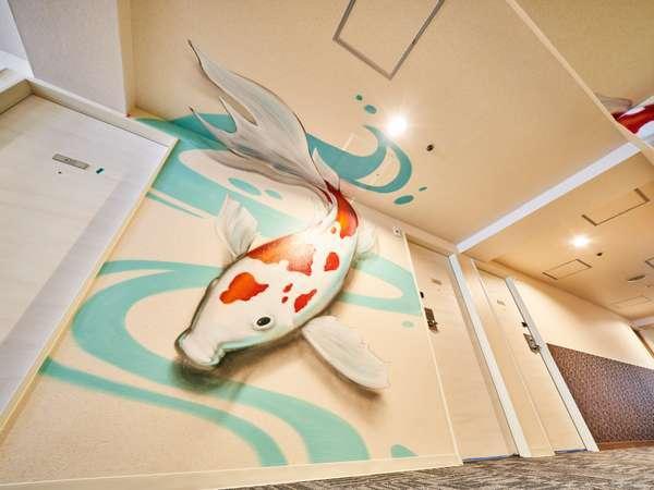 4F『JAPANESE CARP』様々な京都体験をストーリー仕立てで演出と装飾を各フロア廊下に施しております