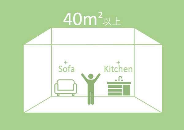 40㎡以上、ソファーあり、キッチンあり(一部客室のみ)