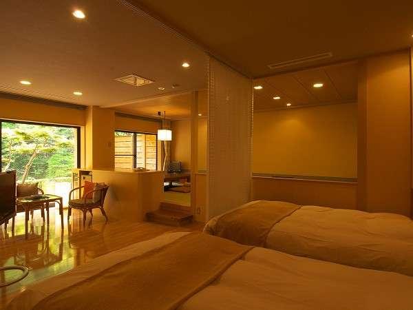 「別邸六花 1階れんぎょう」は露天風呂付き和洋室、通常のツインベッドタイプのお部屋です。