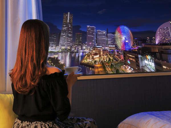 ■横浜の輝く夜景――。お部屋からでも堪能できるみなとみらいの夜■
