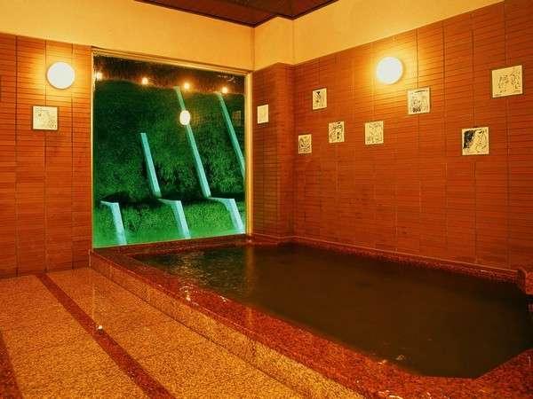 弱アルカリ性天然温泉でほっこり。松田一戯氏の絵 甲羅戯伝説のタイルもお楽しみください