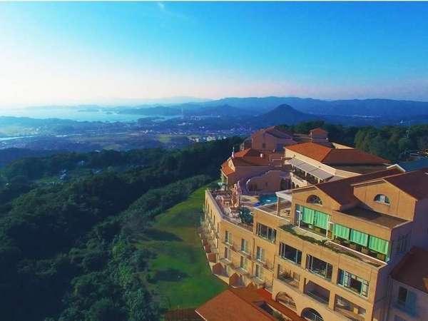 空からの弓張の丘ホテル