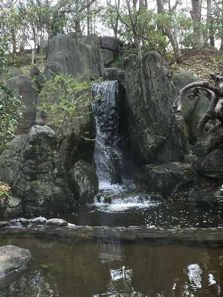 日本庭園に流れ落ちる滝。エントランスロビーからご覧になれます。