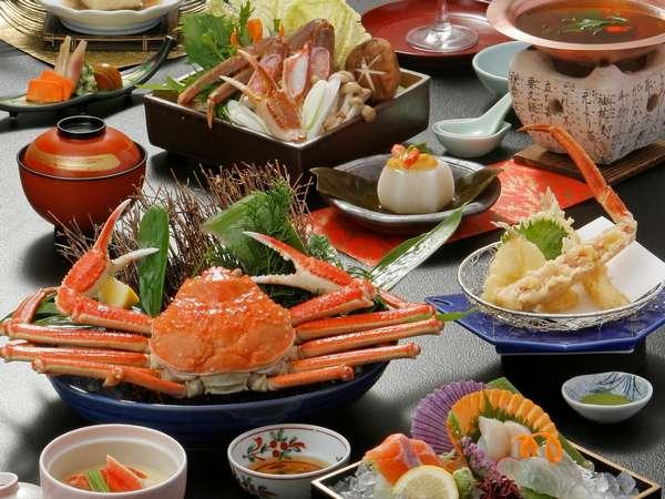 蟹が1枚付いた会席料理