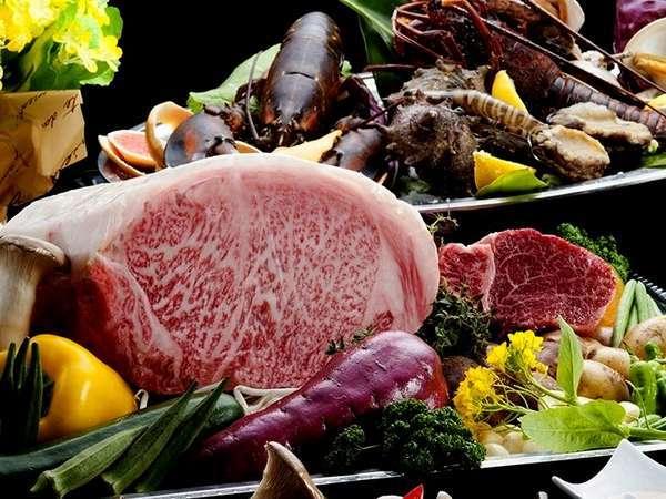 ■日本一鹿児島の黒毛和牛×海鮮を鉄板料理で(料理一例)