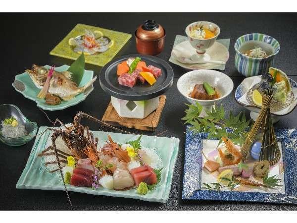【夕食】豪華汐彩グルメコースお刺身に伊勢海老が♪