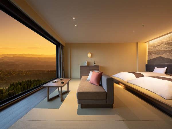 全室、桜島ビュー。刻々と移ろいゆく景色に心癒されます。