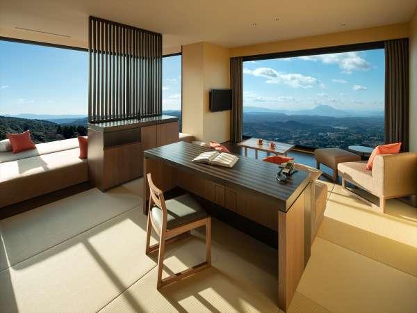 【特別室】3方向ビューのパノラマルームと露天風呂が付いた当館に3室だけの特別室です。