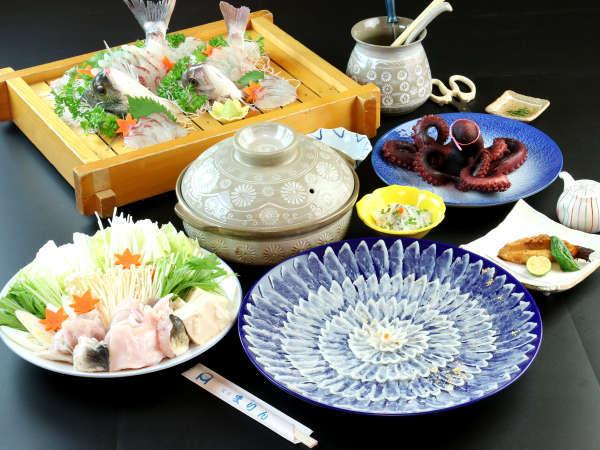 ふぐスタンダードプラン 冬の味覚ふぐ、日間賀島の名物たこ、知多の特産伊勢海老をお楽しみいただけます。