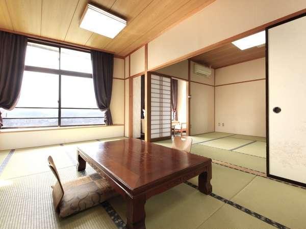 ■日光那須連山眺望10畳+8畳二間和室■窓からは那珂川が眺められます!広々ゆったり。