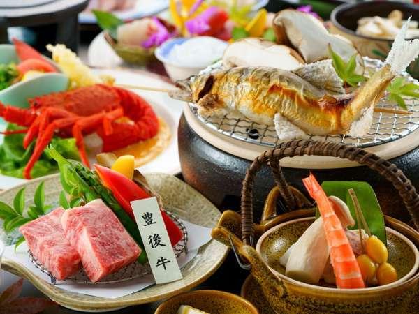 【温物】おおいた豊後牛溶岩焼き 【焼物】天然鮎と肉厚椎茸の七輪焼き