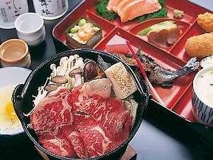 牛スキヤキ、清流ヒメマス塩焼きなどなど【夕食一例】