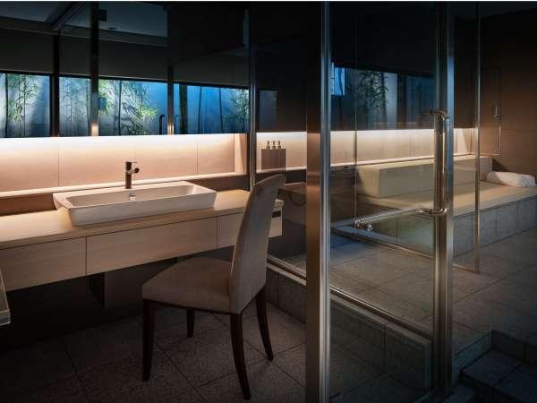 バンブースウィートルームお風呂化粧台の床は床暖房にも設定できます。