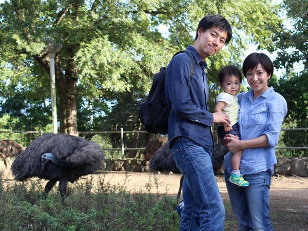 ご家族で動物と一緒にパシャリ!ぜひエミューと撮ってみてくださいね。