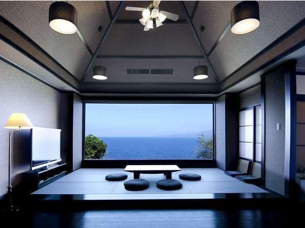 離れ「華館・桜」 92㎡ 大きく切り取られたガラス窓の向こうに広がる海の風景を召し上がれ