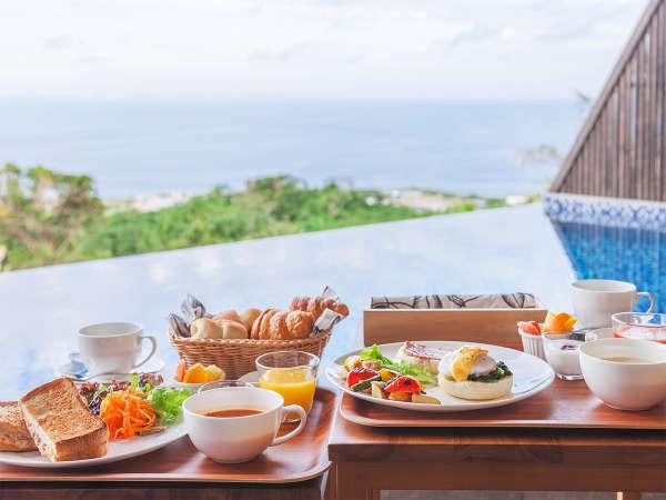 【全てご朝食付き】ルームサービスで、天気の良い日はご希望に応じて海の見えるガーデン、Cafe屋上でもOK