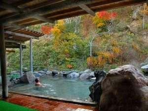 野鳥のさえずりと渓流の流れる音が聞こえる露天風呂。(源泉100%かけ流しのお風呂です。)