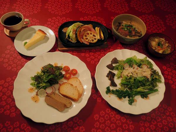 岩手産・雫石産の食材を使った和洋折衷コース(夕食一例)