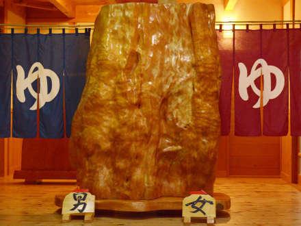 お風呂の入口には大きな檜の巨木が!男女は夜と朝で入れ替えいたします☆