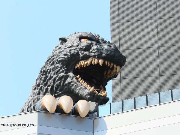 大迫力のゴジラヘッドは8階テラスから間近で見ることが出来ます