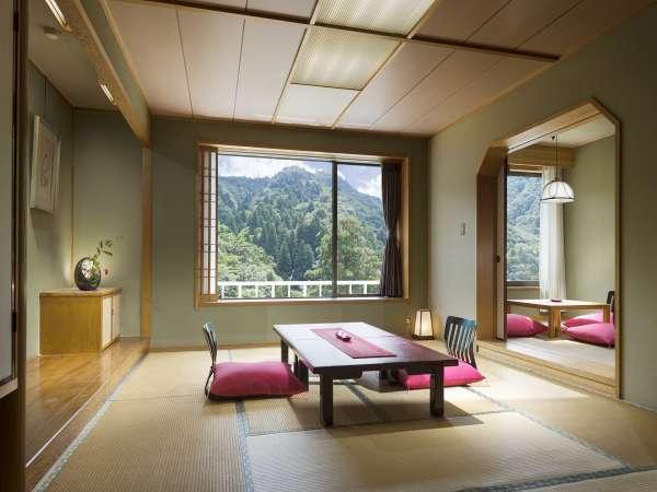 【和室一例】窓外に広がる湯の山の自然をお楽しみ頂けます。