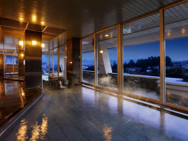 【大浴場】城下町が広がる眺望と「かみのやま温泉」を存分に堪能する空間です♪