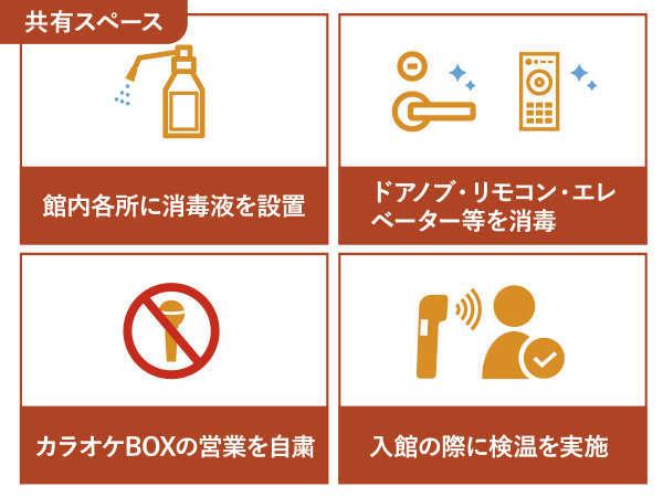 ・館内各所に消毒液を設置・共有箇所の消毒・カラオケBOXの営業を自粛・入館時検温を実施