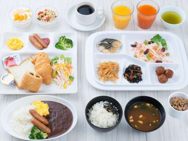 ご朝食のサンプルです♪(一部日替わり)お肉やお魚はもちろん、三交インオリジナルのカレーもございます!