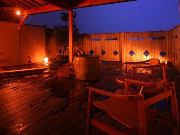 開放感溢れるオープンテラスで極上の時間を♪露天風呂ふたつ付客室
