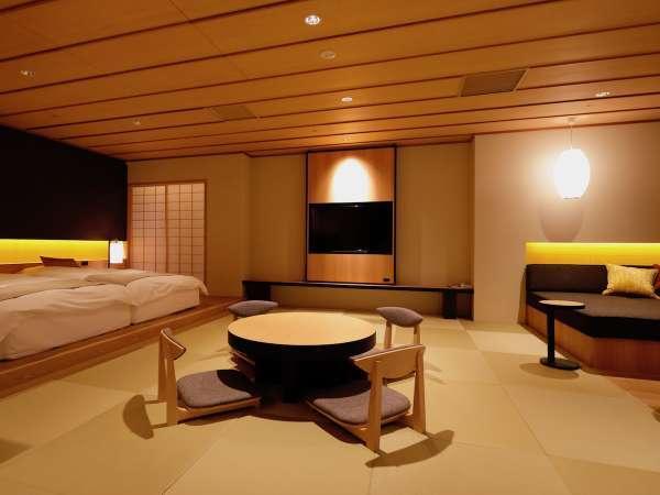 【新装・常盤第】ディベットが付いた、和洋モダンな客室。専用の貸切みかん風呂がご利用頂けます。