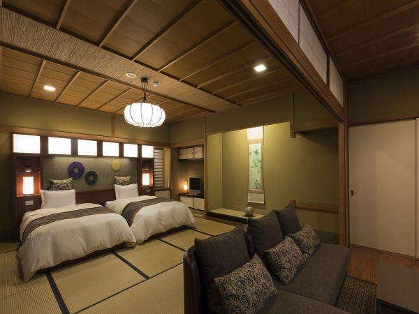 【木もれび和モダンツイン】落ち着きあるベッドのある客室(一例)