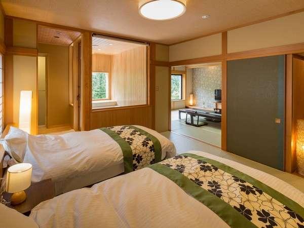 301号室 最高級の素材を使用しているので、寝心地の質も高い「シモンズ」のベッド♪ ビューバス付客室