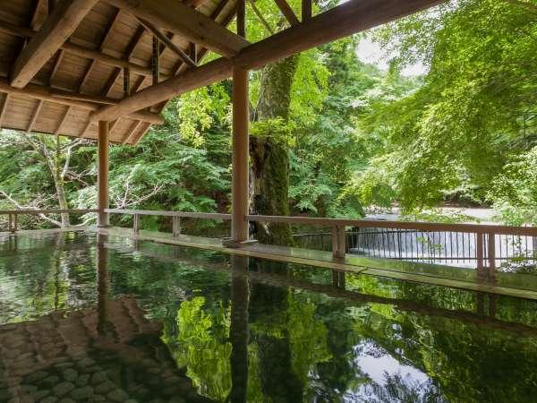 森のこだま四万たむらを代表するお風呂、四季折々の景色と美肌の湯を楽しめる