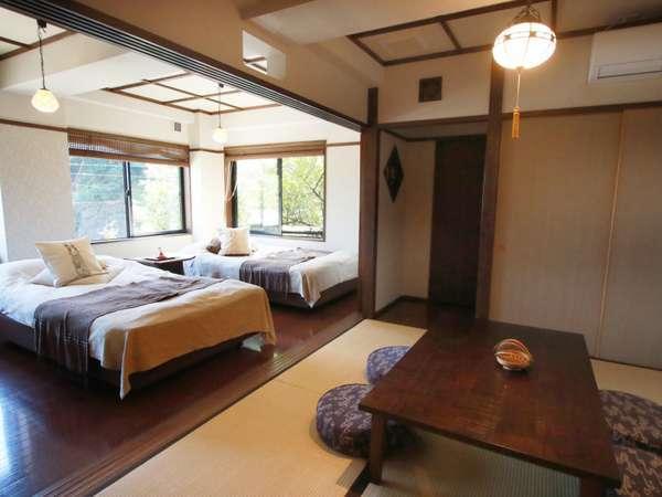 「兎の寝息」セミダブルベッドがふたつと和室の続きの間。内湯もありひっそりと喧噪を離れて。。。