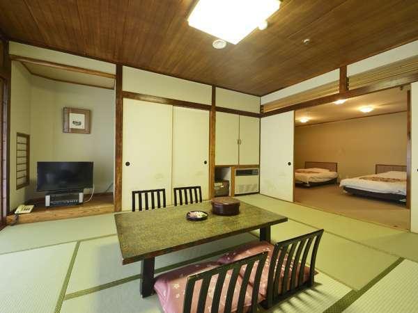 禁煙 和洋室一例和室10畳+ベッド2台+洋間(広縁)スペースバス・トイレ付