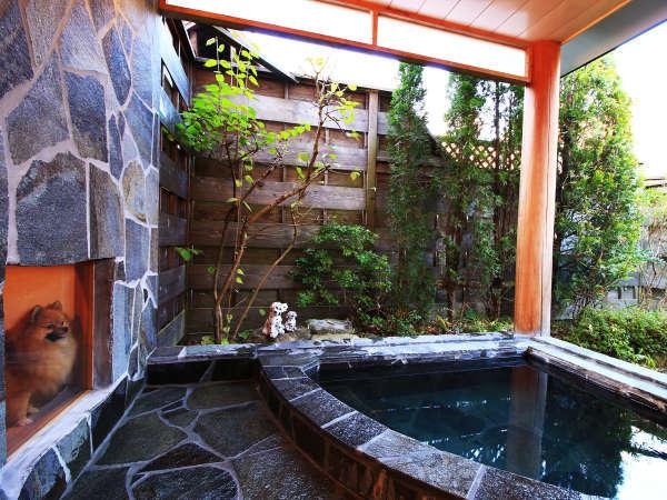 露天風呂の見守りサークルはガラス張り